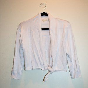 White Crop Tie-Up Cardigan Sweater